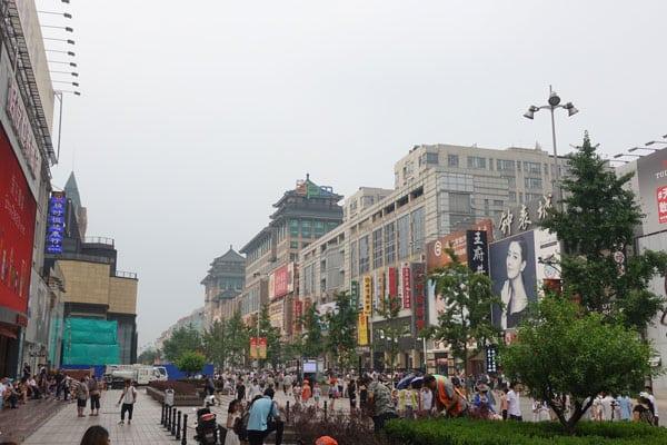 Peking Sehenswürdigkeiten Einkaufsmeile Wangfujing