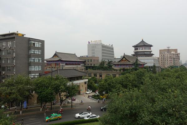 Xian Sehenswürdigkeiten Stadtmauer Ausblick